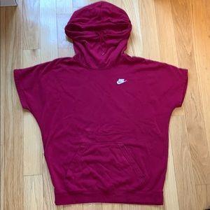 Red Nike Short Sleeve Hoodie Size Medium